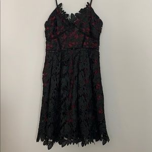 Romeo and Juliet couture black lace maroon dress